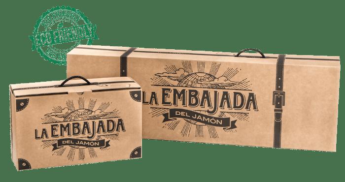 Packaging eco para productos ibéricos, caja jamonero y caja sobres loncheados