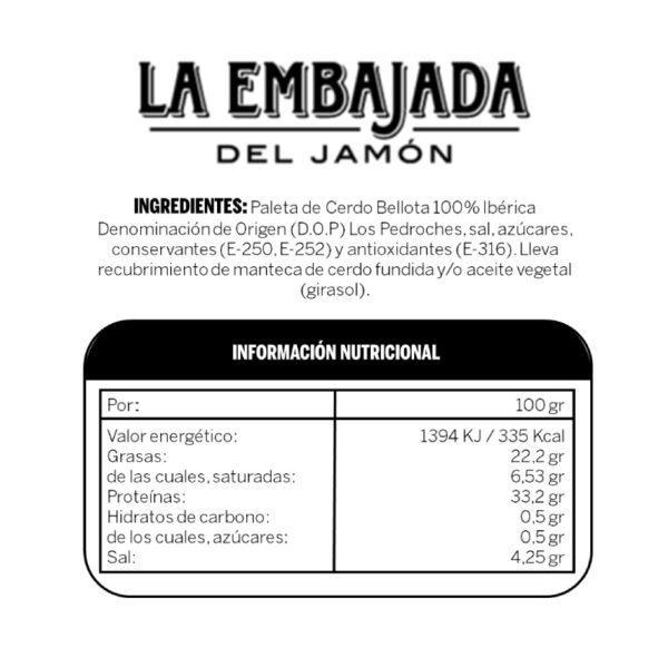 Ingredientes Paleta Bellota 100% DOP