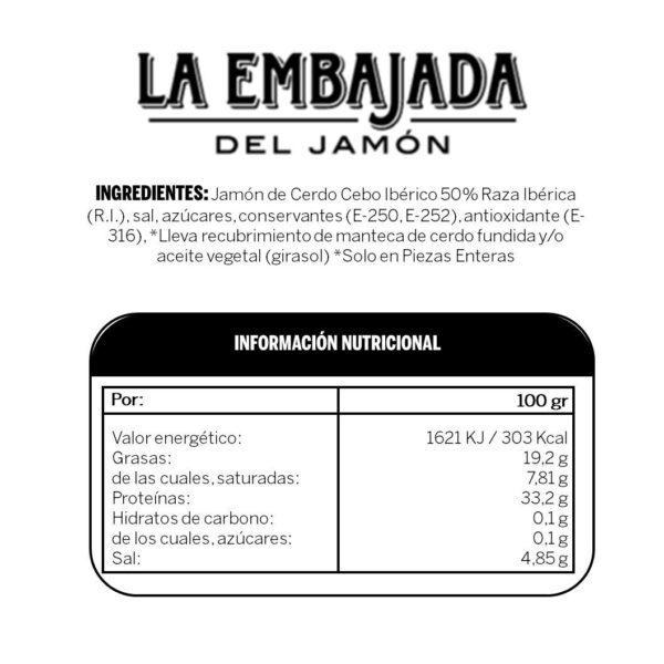 Ingredientes Jamon Cebo 50%
